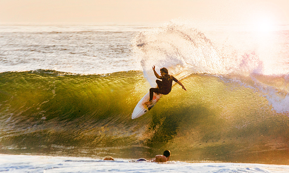 Jake Stewart ripping up the morning break in Umdloti, South Africa.