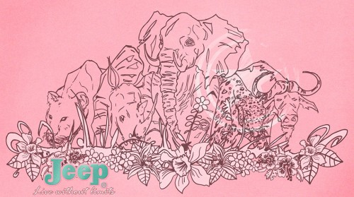 'The BIG 5' illustration for Jeep Ladies clothing